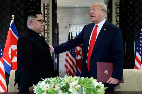 President Donald Trump and North Korea leader Kim Jong Un at their Singapore meeting in June.