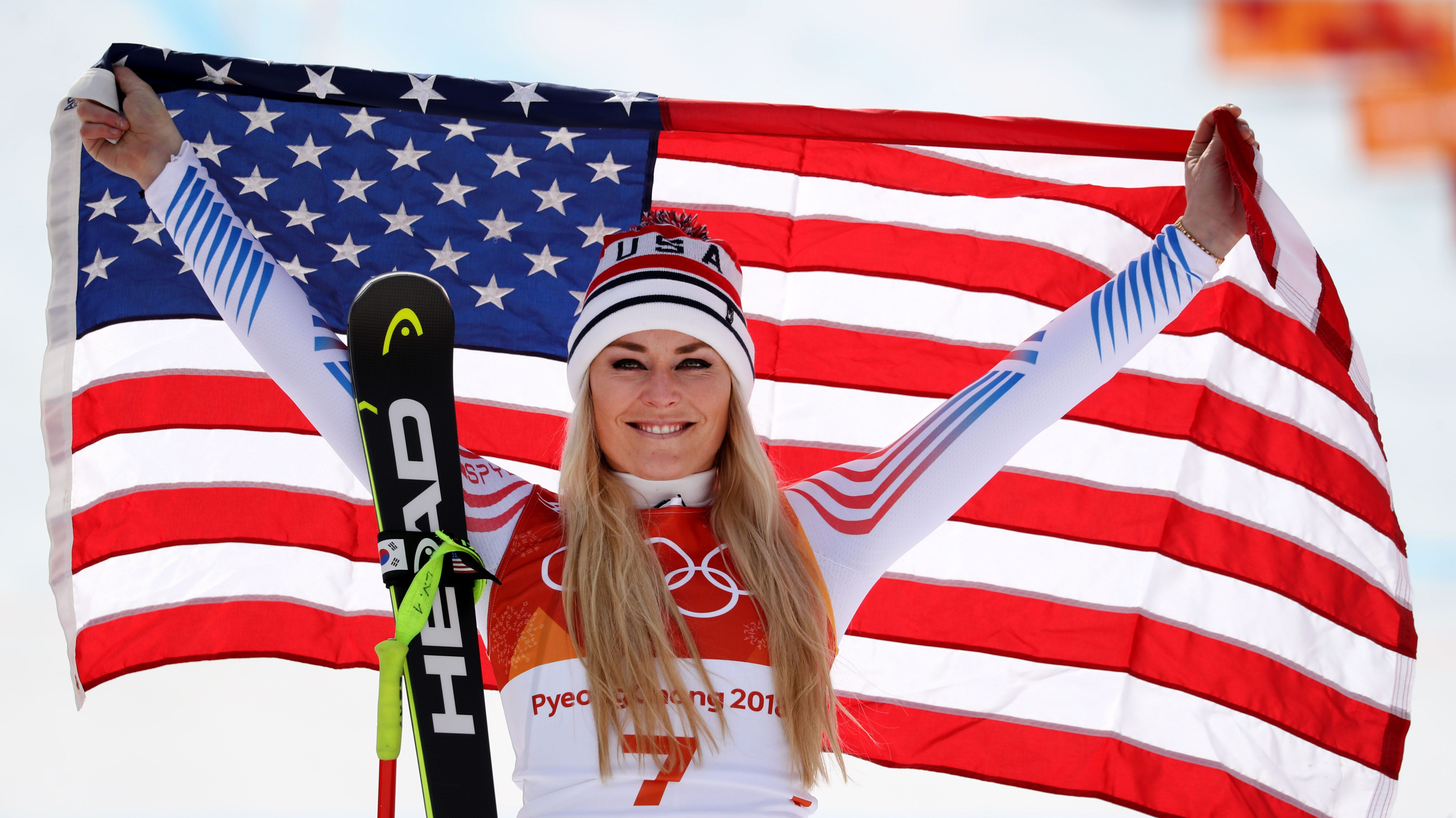 Lindsey Vonn (USA) celebrates winning the bronze medal in the downhill during the Pyeongchang 2018 Olympic Winter Games at Jeongseon Alpine Centre.