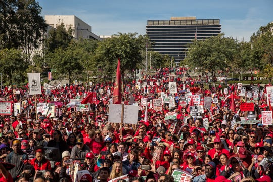 Teachers rally after tentative deal was reached, Los Angeles, Jan. 22, 2019.