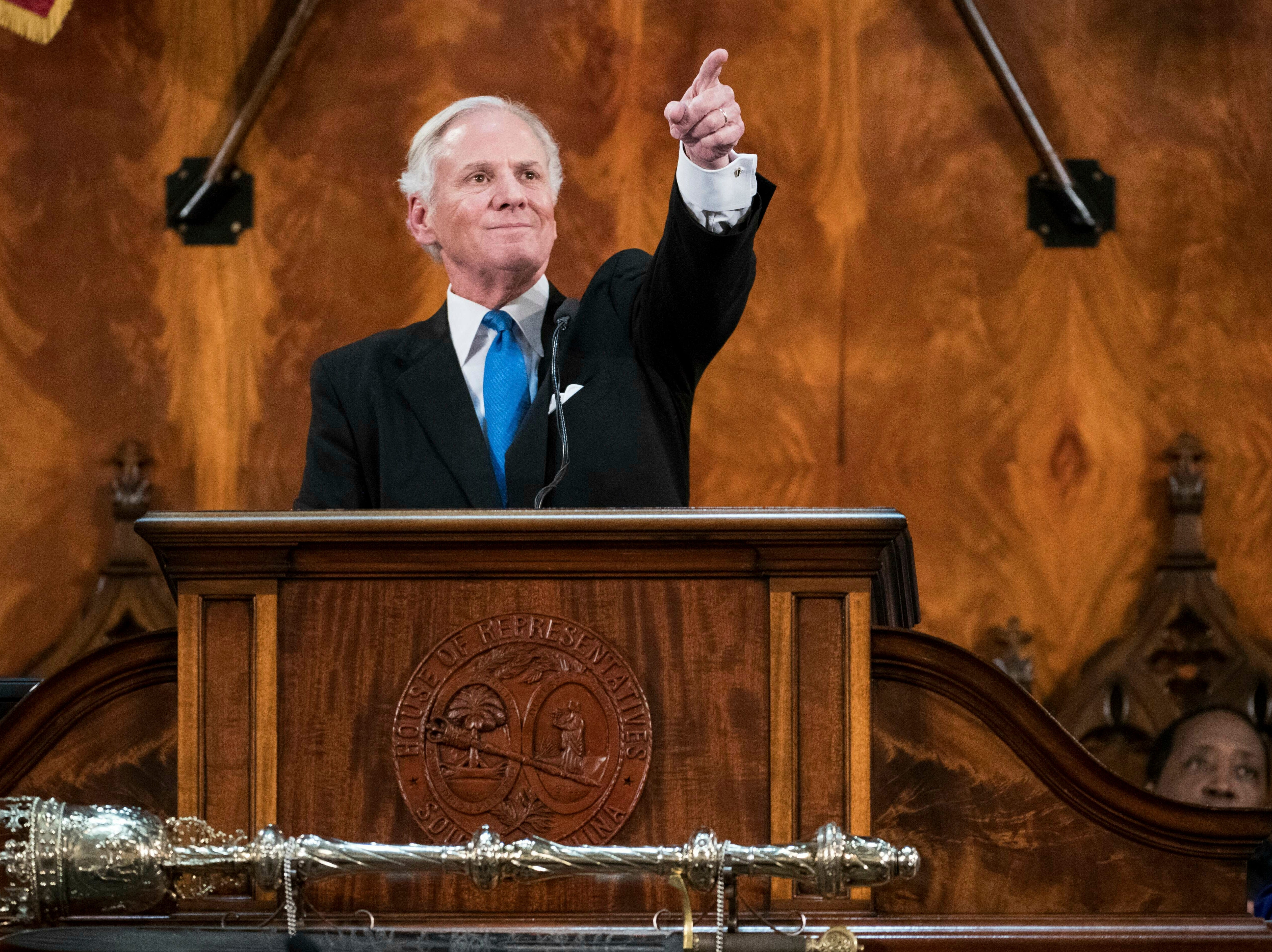 South Carolina Governor Henry McMaster delivers the State of the State address at the South Carolina Statehouse, Wednesday, Jan. 23, 2019, in Columbia, S.C. (AP Photo/Sean Rayford)