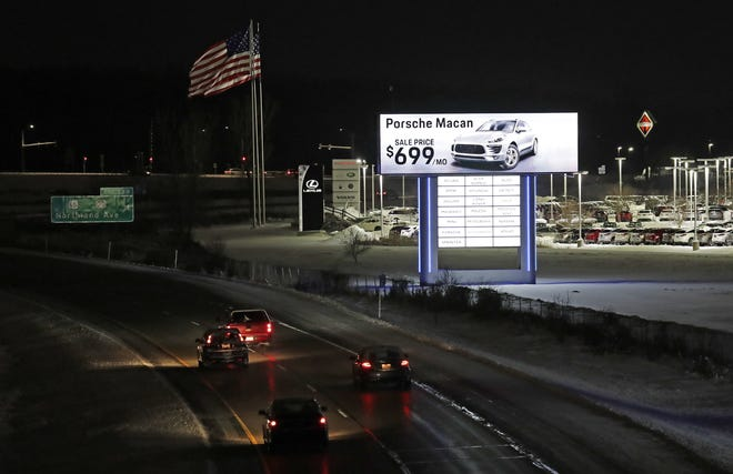The placement of two illuminated signs along Interstate 41 in Grand Chute is under investigation by the Wisconsin Department of Transportation. The signs were erected last fall by Bergstrom Properties Inc.