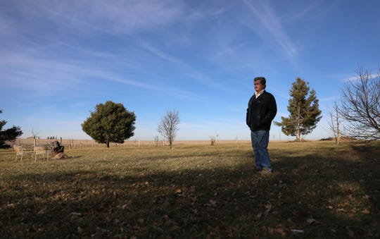 """Alan Jewell has family land next to the proposed solar farm. """"This is an ugly, ugly mark on the land,"""" Jewell says about the proposed 1.2 million solar panels that would be installed."""