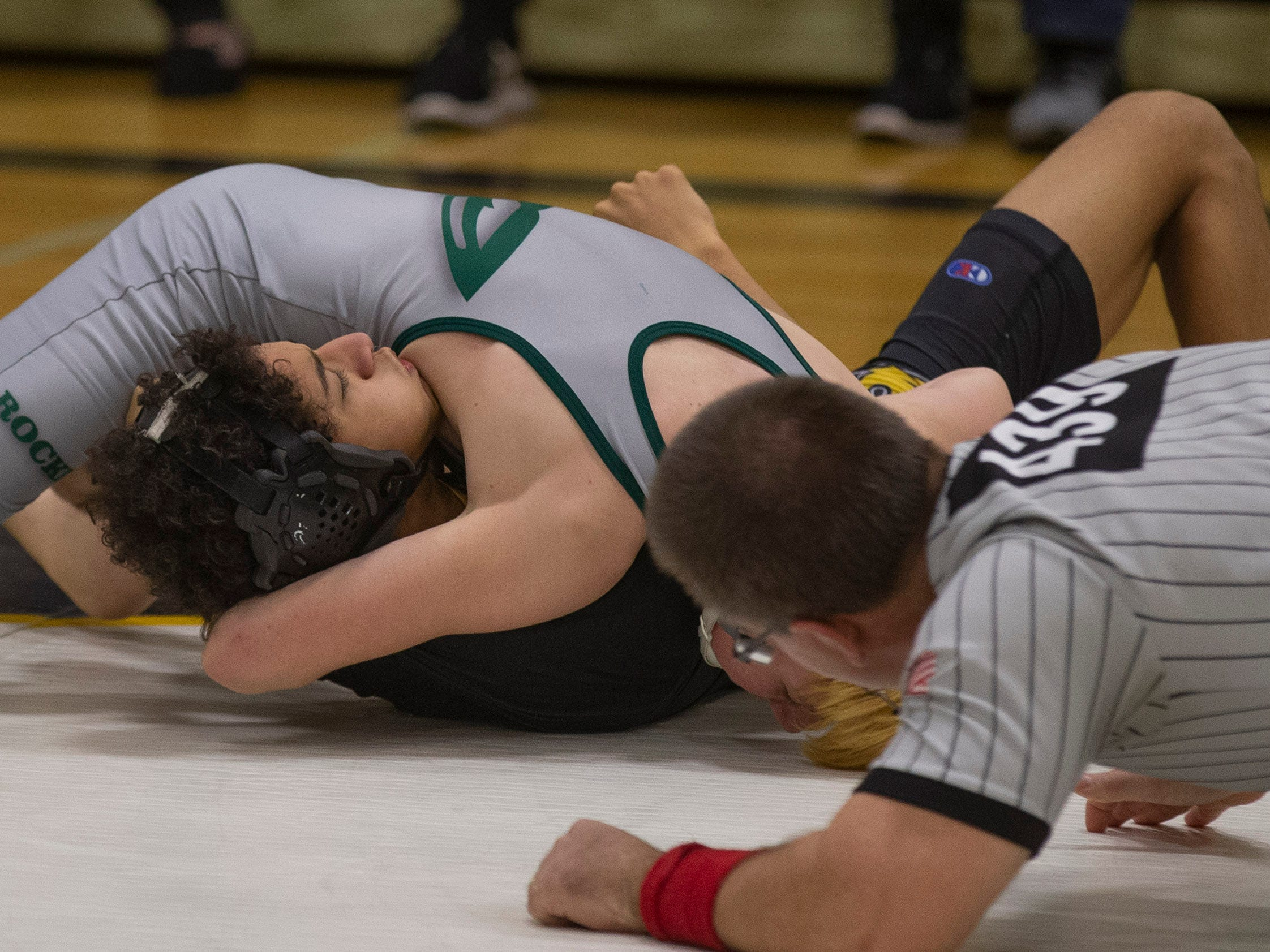 Raritan's Jordan Rafalko pins St John's Nick Cammarano in their 113 lbs. bout. Raritan Wrestling defeats St John Vianney in Holmdel, NJ on January 23, 2019.