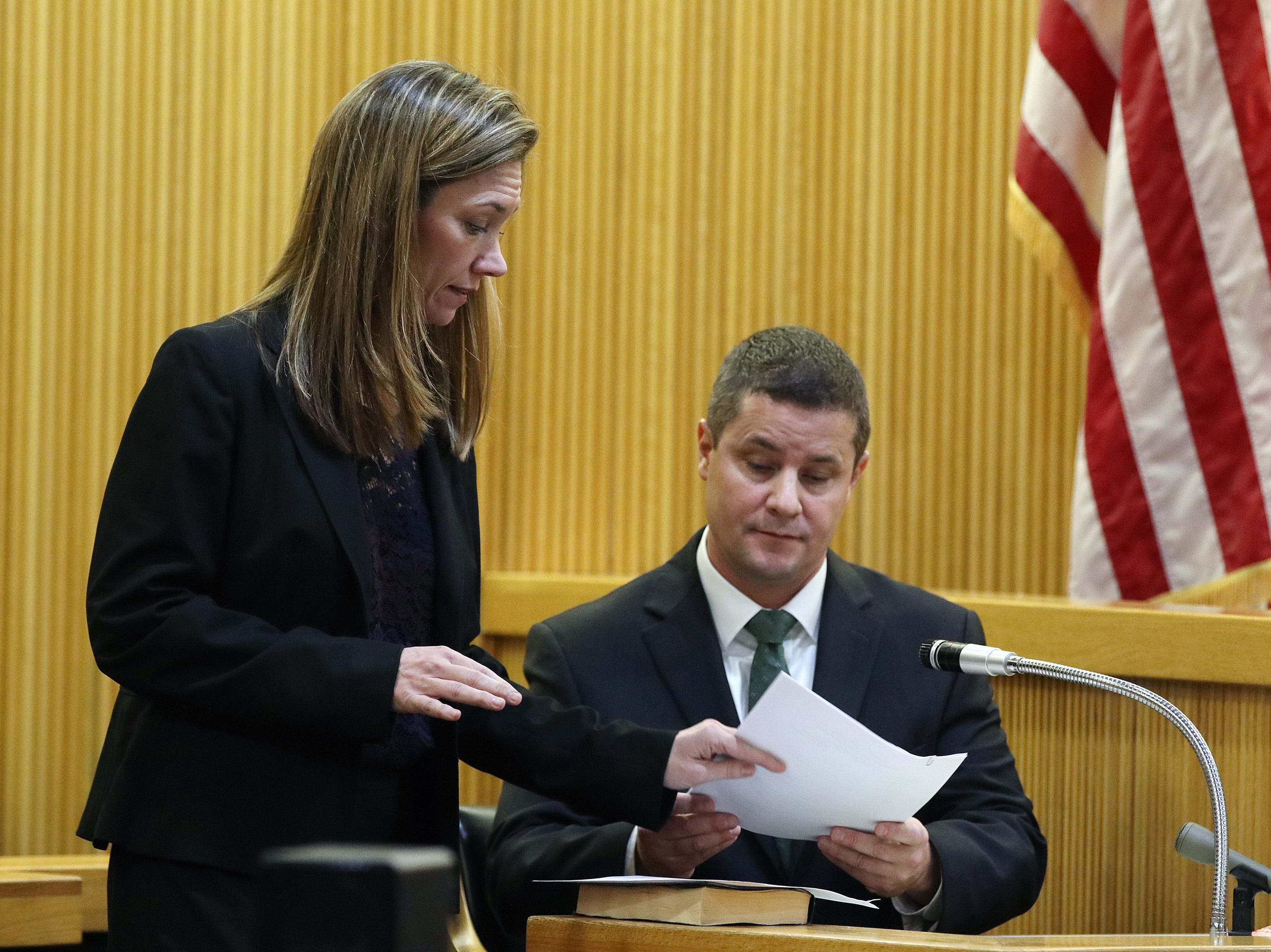 Meghan Doyle, Monmouth County assistant prosecutor, questions Kevin Mahoney, a detective at the Monmouth County Prosecutor's Office, during the trial of Liam McAtasney, who is charged with the murder of former high school classmate, Sarah Stern, before Superior Court Judge Richard W. English at the Monmouth County Courthouse in Freehold, NJ Thursday January 24, 2019.