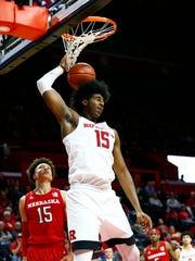 Rutgers Scarlet Knights center Myles Johnson (15) dunks against Nebraska Cornhuskers forward Isaiah Roby (15)