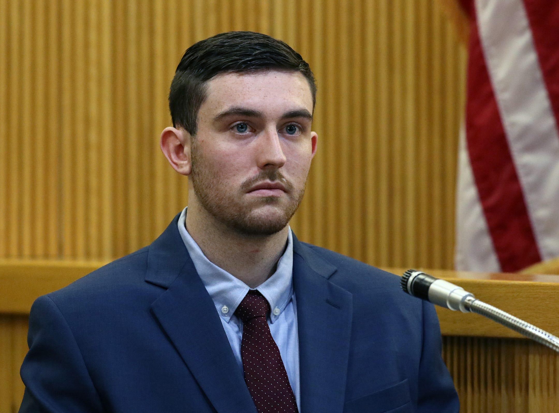 Preston Taylor, who plead guilty to charges in the Sarah Stern case, testifies under a plea agreement against Liam McAtasney, who is charged with the murder of former high school classmate, Sarah Stern, during the second day of trial before Superior Court Judge Richard W. English at the Monmouth County Courthouse in Freehold, NJ Thursday January 24, 2019.