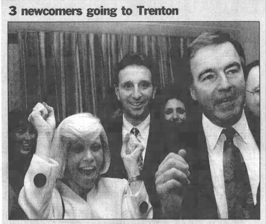 A 49-year-old state Assemblyman-elect David W. Wolfe (right) learns on election night in 1991 that he is going to Trenton  with Assemblywoman-elect Virginia E. Haines (left) and state Sen.-elect Andrew R. Ciesla (center).