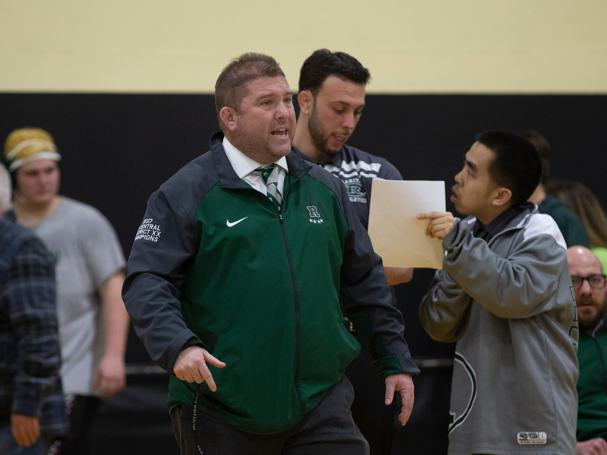 Raritan Wrestling Coach Rob Nucci. Raritan Wrestling defeats St John Vianney in Holmdel, NJ on January 23, 2019.