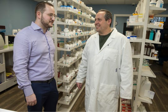Ezriel Green has founded EzriRx, a Lakewood company that has developed technology making it easier and cheaper for independent pharmacies to buy prescription drugs. Green is shown at River Pharmacy, a small pharmacy that uses EzriRx with pharmacist Gary DiMasi.       