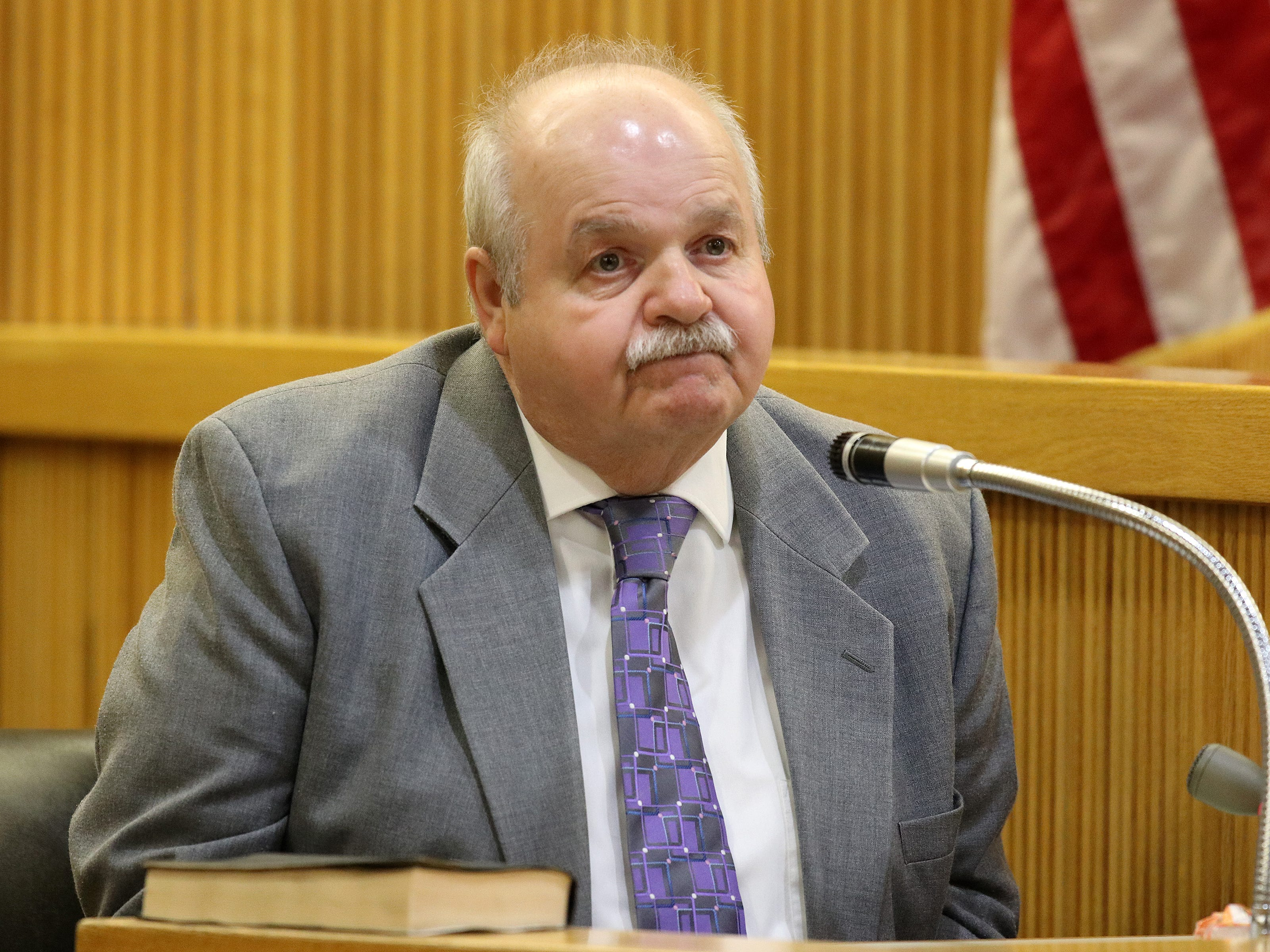 Raymond Bloetjes, friend of the Stern family and manager of the Kearny Bank in Bradley Beach, talks about seeing Sarah Stern in his bank on December 2, 2016 as he testifies during the trial of Liam McAtasney, who is charged with the murder of former high school classmate, Sarah Stern, before Superior Court Judge Richard W. English at the Monmouth County Courthouse in Freehold, NJ Thursday January 24, 2019.