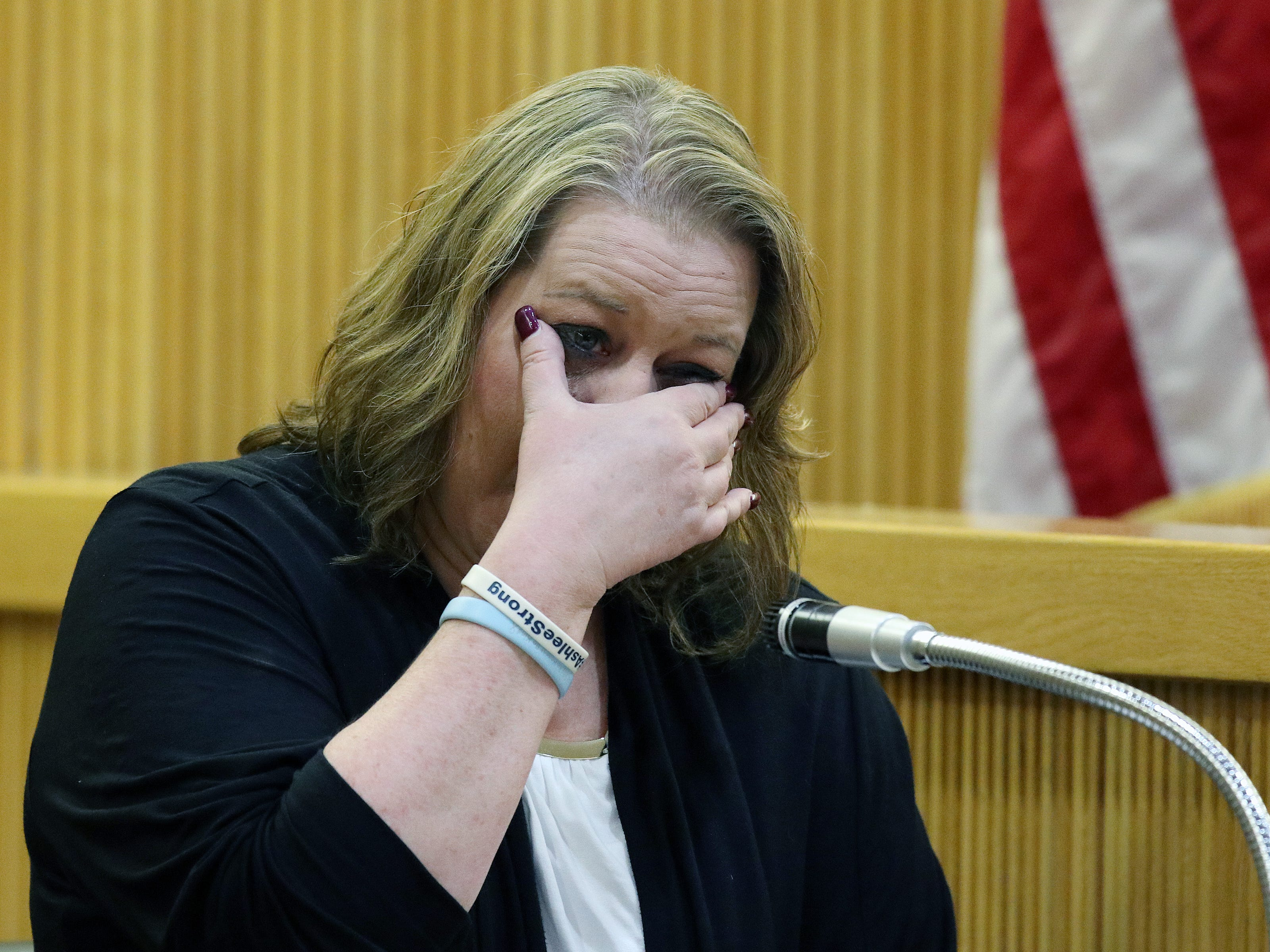 Linda Capobianco, friend of the Stern family and employee at the Kearny Bank in Bradley Beach, tears up as talks about seeing Sarah Stern at the bank on December 2, 2016 as she testifies during the trial of Liam McAtasney, who is charged with the murder of former high school classmate, Sarah Stern, before Superior Court Judge Richard W. English at the Monmouth County Courthouse in Freehold, NJ Thursday January 24, 2019.