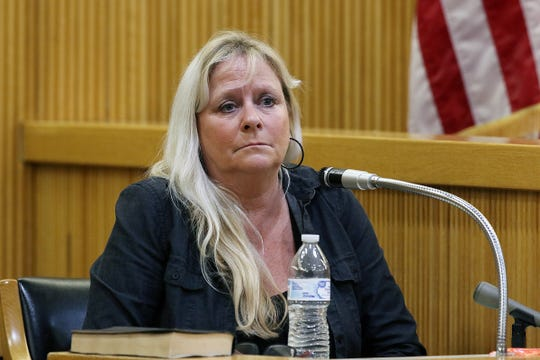 Michelle Bahr, cousin of Sarah Stern, testifies during the trial of Liam McAtasney, who is charged with the murder of former high school classmate, Sarah Stern, before Superior Court Judge Richard W. English at the Monmouth County Courthouse in Freehold, NJ Thursday January 24, 2019.