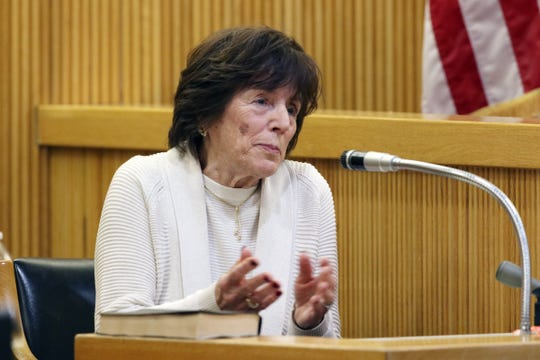 Shirley Longo, aunt of Sarah Stern, testifies during the trial of Liam McAtasney, who is charged with the murder of former high school classmate, Sarah Stern, before Superior Court Judge Richard W. English at the Monmouth County Courthouse in Freehold, NJ Thursday January 24, 2019.