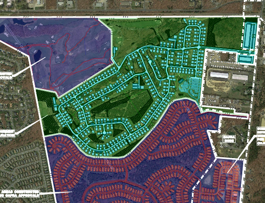 Houses and streets in bright blue are proposed for construction as part of a more than 500-home development called The Parke in Lakewood along Cross Street. The red buildings on the map are The Fairways at Lake Ridge development. These plans were submitted to the Lakewood Township Planning Board.