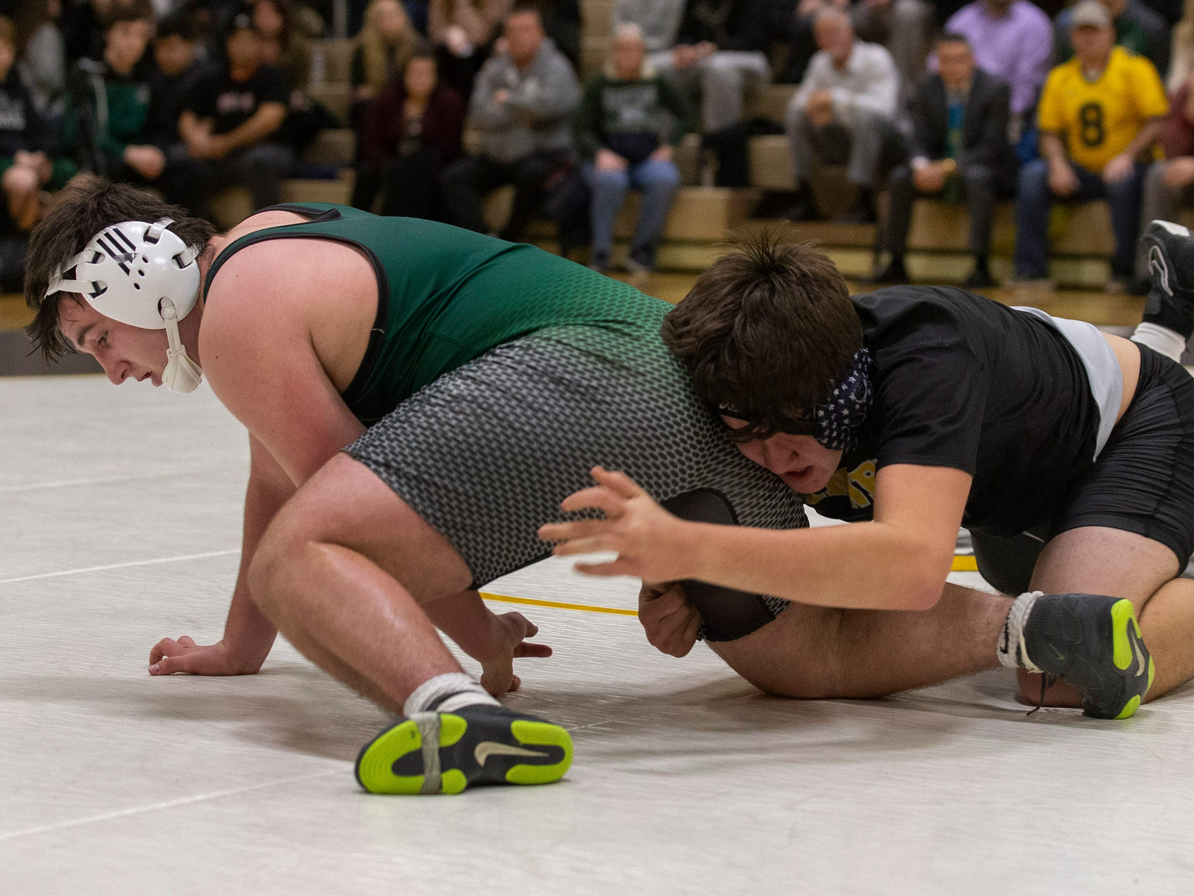 Raritan's Charles Barrale vs Dante Miranda in their 195 lbs. out as Raritan Wrestling defeats St John Vianney in Holmdel, NJ on January 23, 2019.