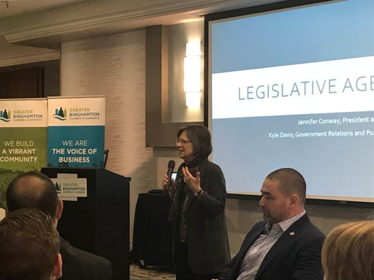 Assemblywoman Donna Lupardo and Senator Fred Akshar speak with local businesses at the Greater Binghamton Chamber of Commerce Legislative Rollout and Local Lobby Day.