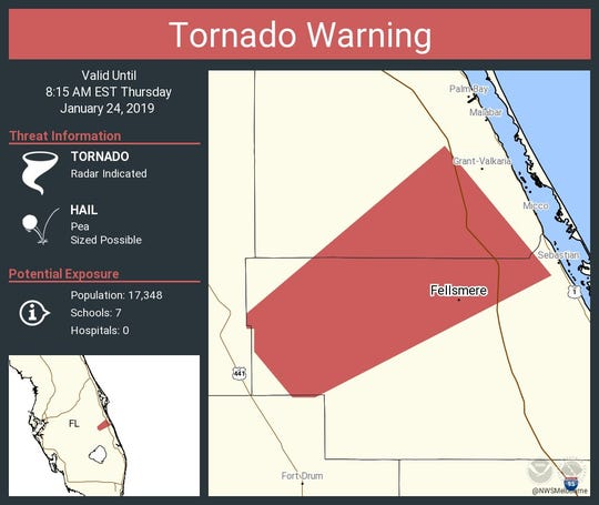 Tornado warning issued for south Central Brevard County until 8:15 a.m. Jan. 24, 2019.