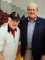 Former FIT assistant basketball coach and women's golf coach Al Skellett, left, got together with Florida Tech athletic director Bill Jurgens after a 2018 basketball game.