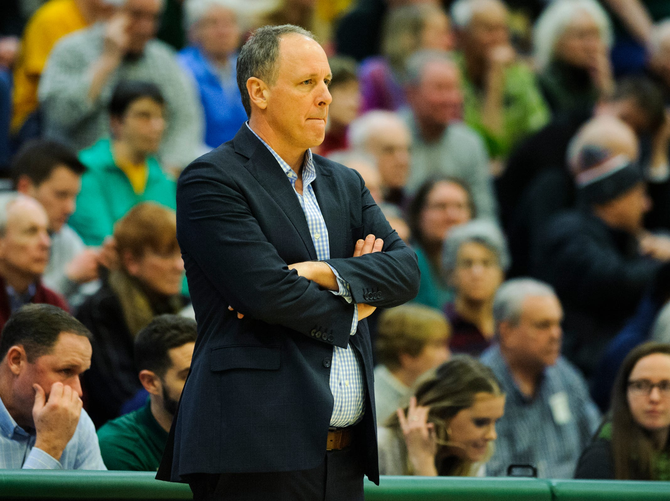 Vermont head coach John Becker watches the action on the court during the men's basketball game between the UMBC Retrievers and the Vermont Catamounts at Patrick Gym on Wednesday night January 23, 2019 in Burlington, Vermont.