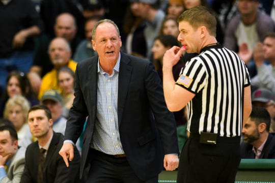 Vermont head coach John Becker argues a call during the men's basketball game between the UMBC Retrievers and the Vermont Catamounts at Patrick Gym on Wednesday night January 23, 2019 in Burlington, Vermont.
