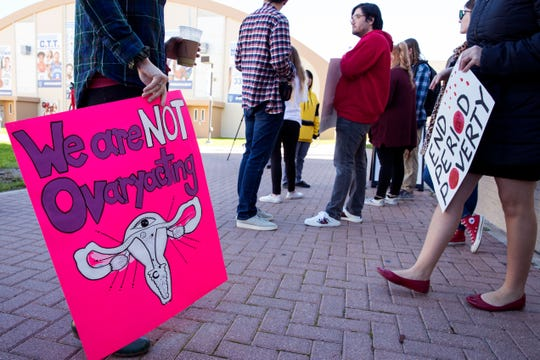 Local students and activists gather before a march at Texas A&M University-Corpus Christi to bring awareness to the need for free menstrual hygiene products on campus on Thursday, January 24, 2019. They also delivered signatures to university president Kelly Quintanilla asking for the products. The university is in the process of identifying the most used restrooms on campus to stock them with feminine hygiene products.