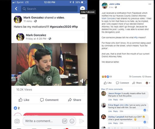 "Facebook user John Little, a retired Corpus Christi police officer, posted a screenshot of a post by Nueces County District Attorney Mark Gonzalez. The post included the hashtag ""ftp,"" which is most known to stand for ""F--- the police."""