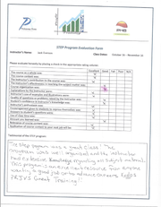 A completed STEP Program Evaluation Form from a student who enrolled in the pilot program.