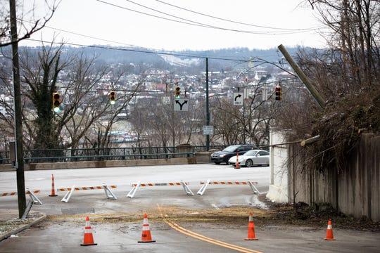 A view of Kemper Lane where a landslide caused the road to be closed on Thursday, Jan. 24, 2019, in Cincinnati.