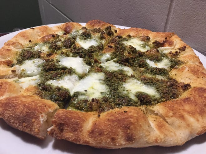 The pistachio pesto pizza from Joe's Napoli Pizza in Milford