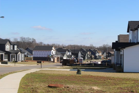 Construction is still underway on the new section of the Eagles Bluff neighborhood, which was split by a school zone boundary first established before the neighborhood existed.