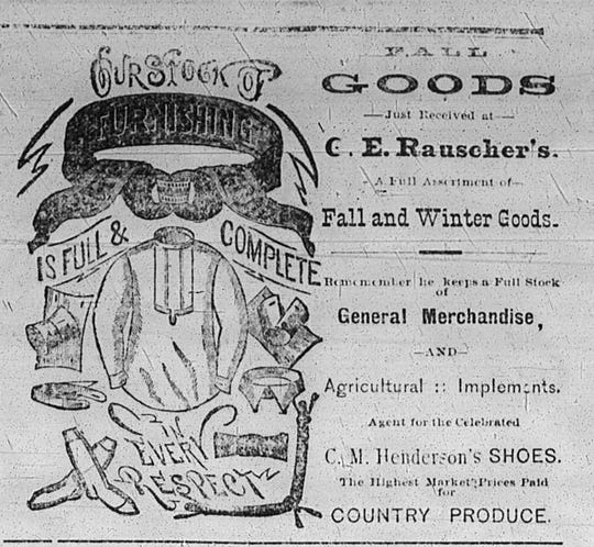 A newspaper advertisement from the Erin Review on Friday, Dec. 7, 1888.