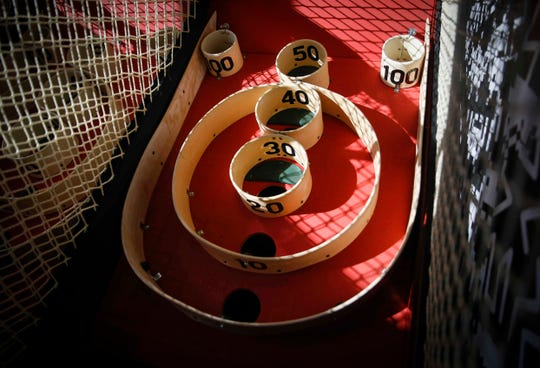Skeeball alleys have been added, along with thirty new games, to the newly remodeled Up-Down arcade bar in Des Moines' East Village on Wednesday, Jan. 23, 2019.