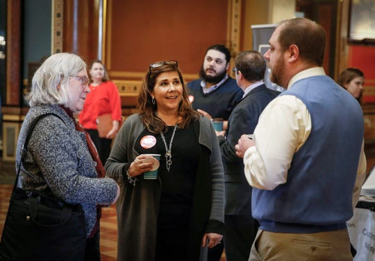 Linda Gorkow, executive director of the Iowa Food Bank Association, is one of the advocates that spoke with lawmakers on the impact of food insecurity in Iowa at the #EndHungerNow event on Thursday, Jan. 24, 2019, at the Iowa Capitol Building in Des Moines.