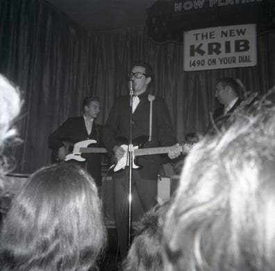 Buddy Holly performs at the Surf Ballroom on Feb. 2, 1959.