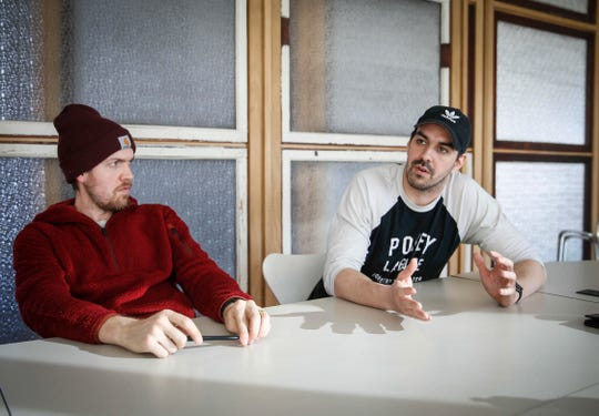 Up-Down owners Sam Summers, left, and Josh Ivey talk about the updates and remodeling to the Des Moines location on Wednesday, Jan. 23, 2019.