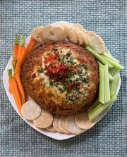 Spinach, Artichoke and Red Pepper Bread Bowl Dip