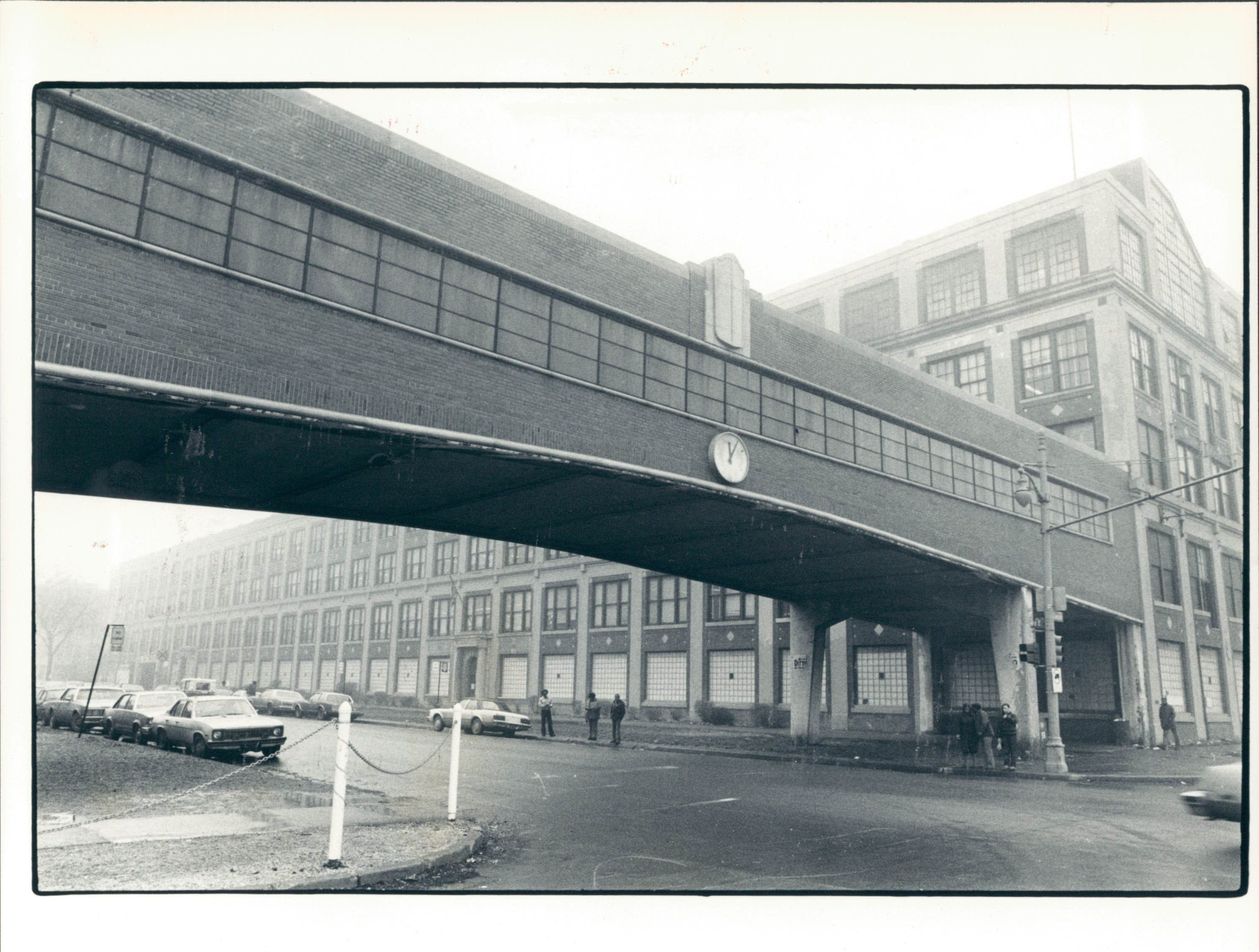A 1981 photo shows the bridge at the old Packard Motor Car Co. facility .