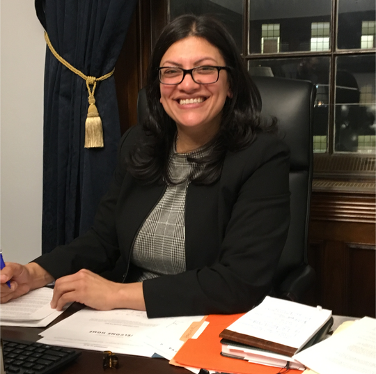 U.S. Rep. Rashida Tlaib, D-Detroit, sits in her office in the Longworth Office Building in Washington, D.C.