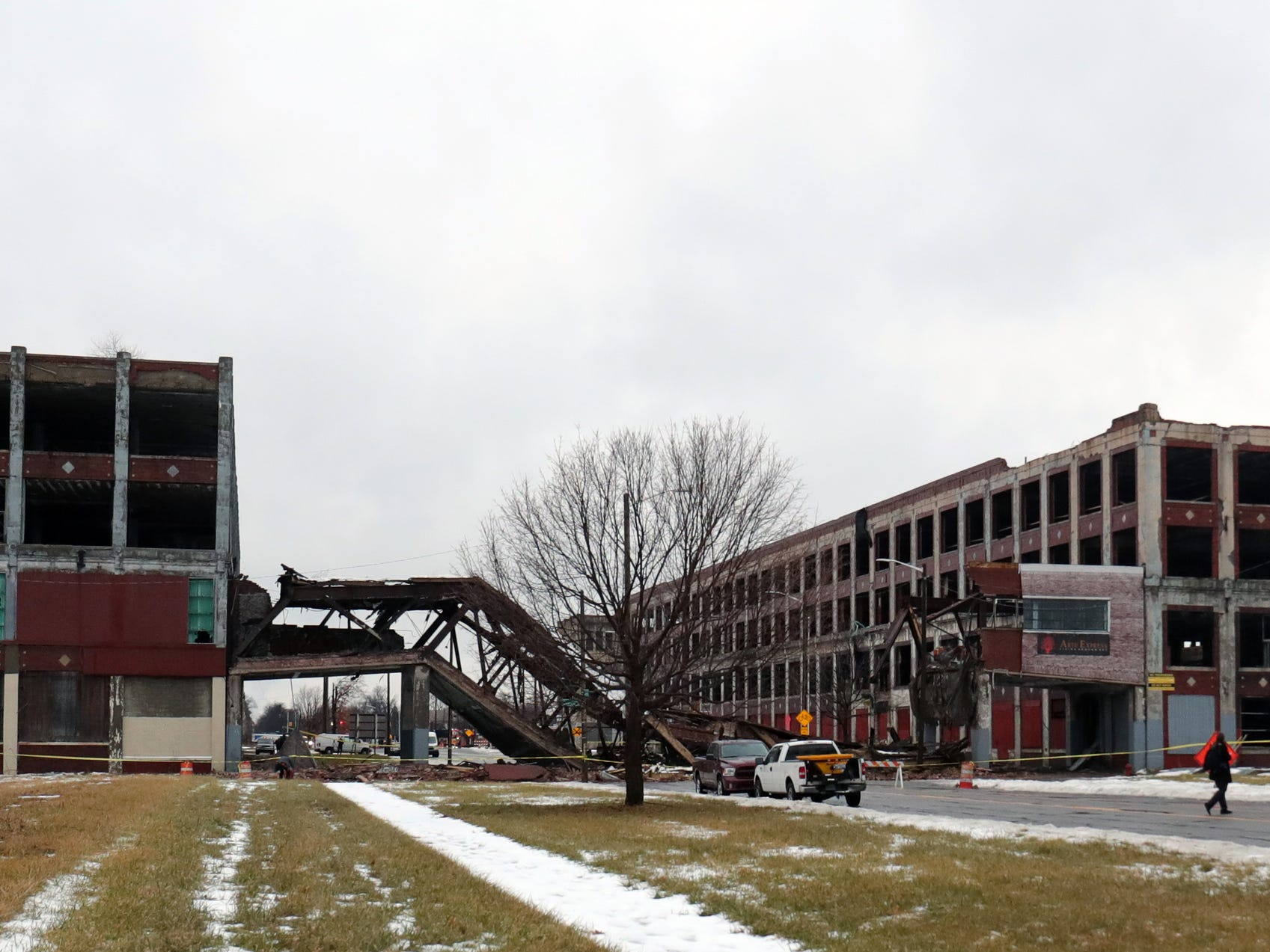 The Packard Plant bridge over Grand Boulevard collapsed blocking the street Wednesday, January 23 , 2019 in Detroit, Mich.