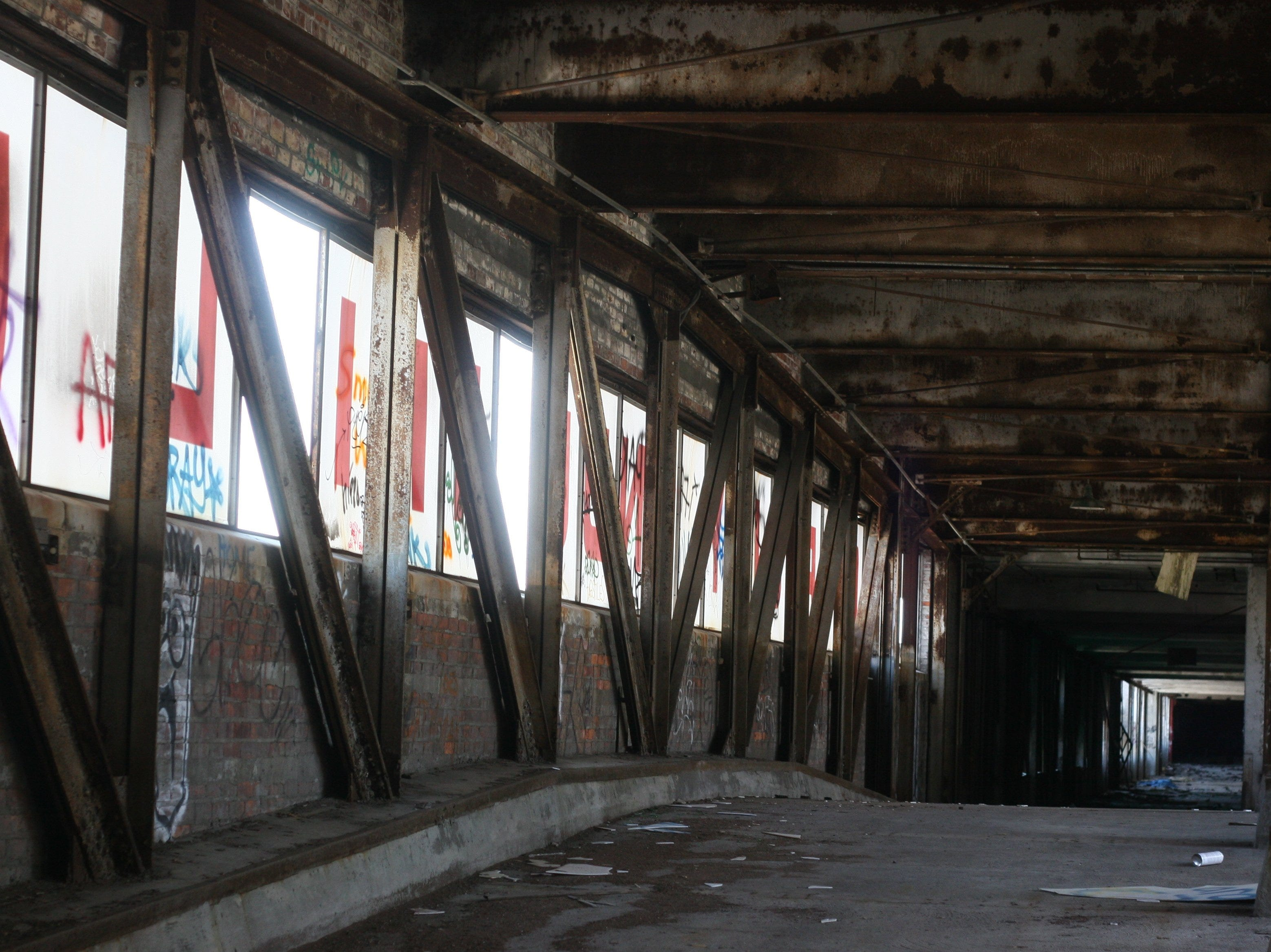 Interior of the bridge that connects the north and south complexes of the deteriorating Packard Plant on East Grand Blvd. in Detroit on Wednesday April 23, 2008.