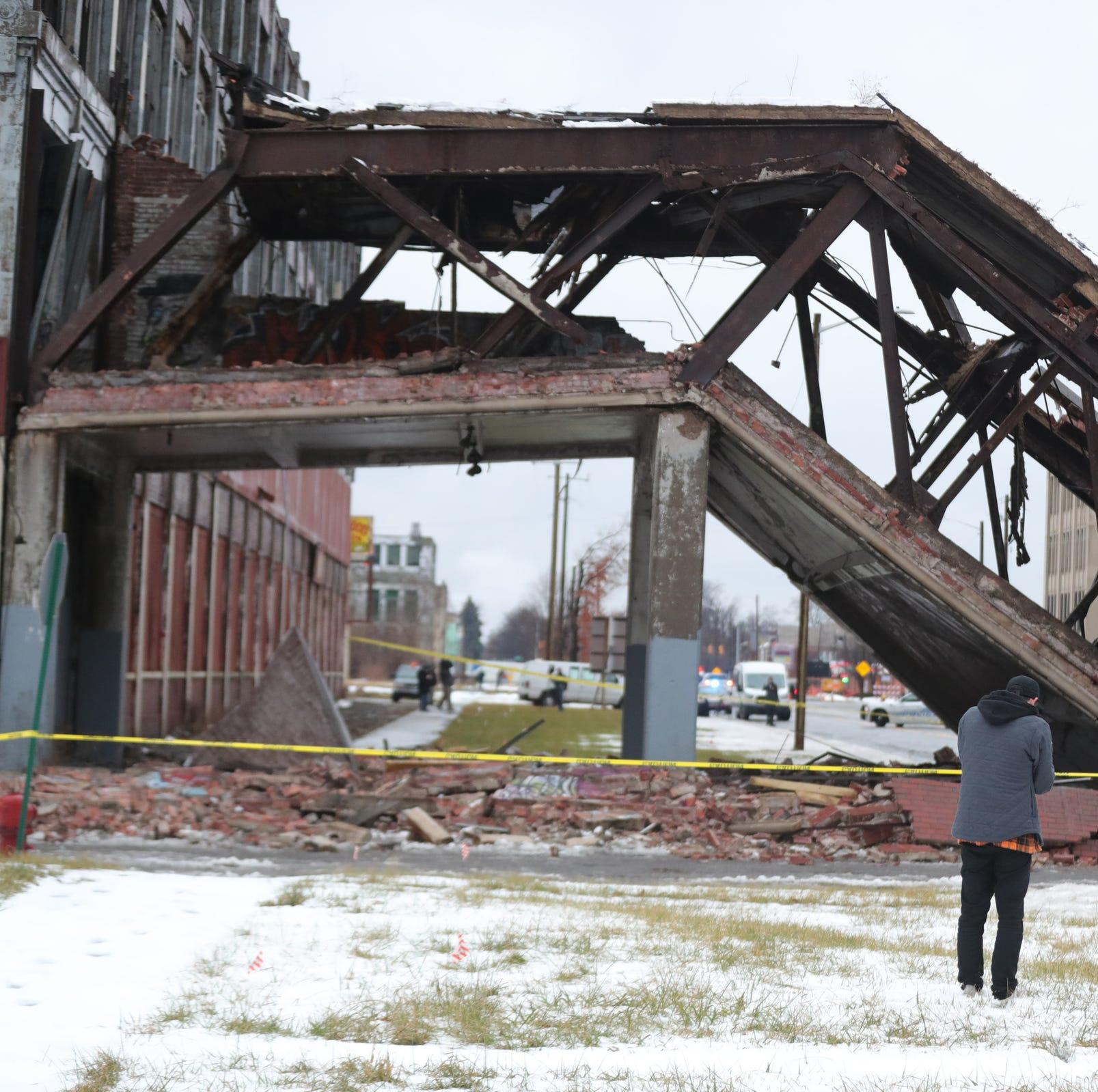Historic Packard Plant bridge collapses in Detroit