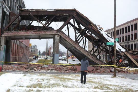 The Packard Plant bridge over Grand Boulevard collapsed blocking the street Wednesday, January 23 , 2019 Detroit, Mich.