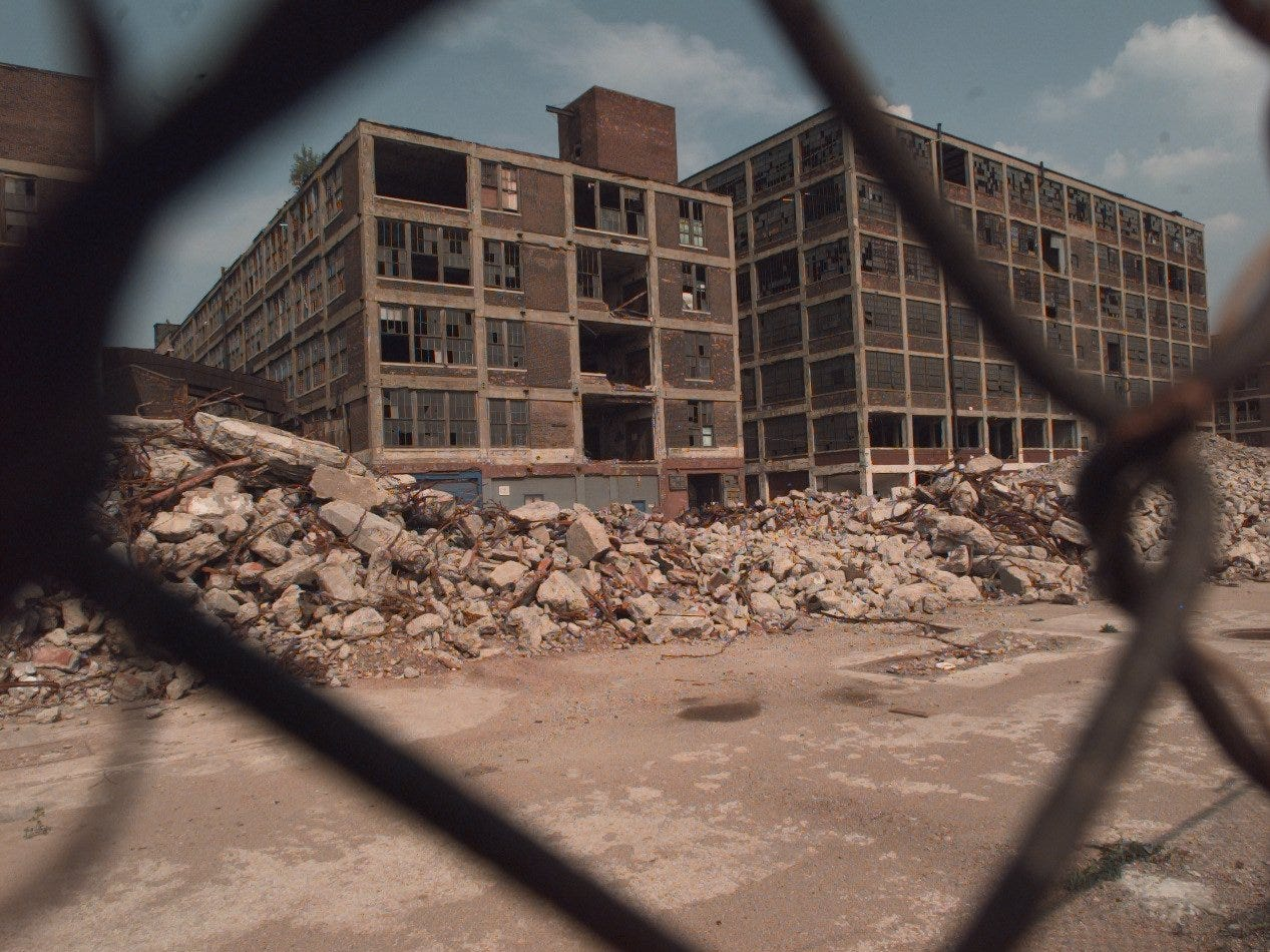 Piles of rubble lay alongside part of the Packard plant on E. Grand Blvd on June 10, 1999.