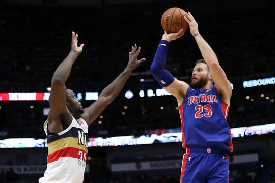 Pistons forward Blake Griffin shoots the ball over Pelicans forward Julius Randle during the Pistons' 98-94 win on  Wednesday, Jan. 23, 2019, in New Orleans.
