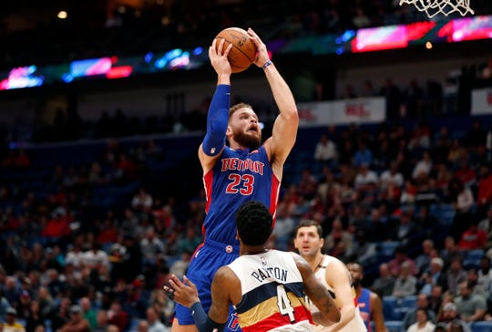 Detroit Pistons forward Blake Griffin goes to the basket against New Orleans Pelicans guard Elfrid Payton in the first half in New Orleans, Wednesday, Jan. 23, 2019.
