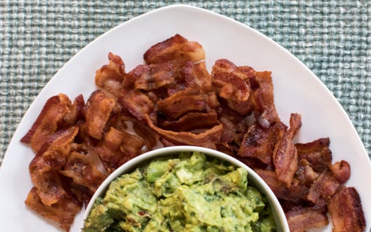 Guacamole with Bacon Chips .
