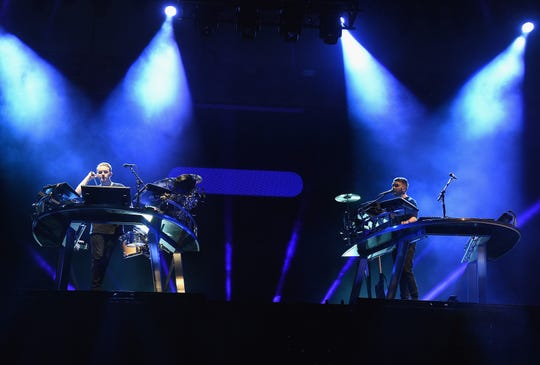 Musicians Guy Lawrence and Howard Lawrence of Disclosure during day two of the 2016 Coachella Valley Music & Arts Festival Weekend 1 at the Empire Polo Club on April 16, 2016 in Indio, California.