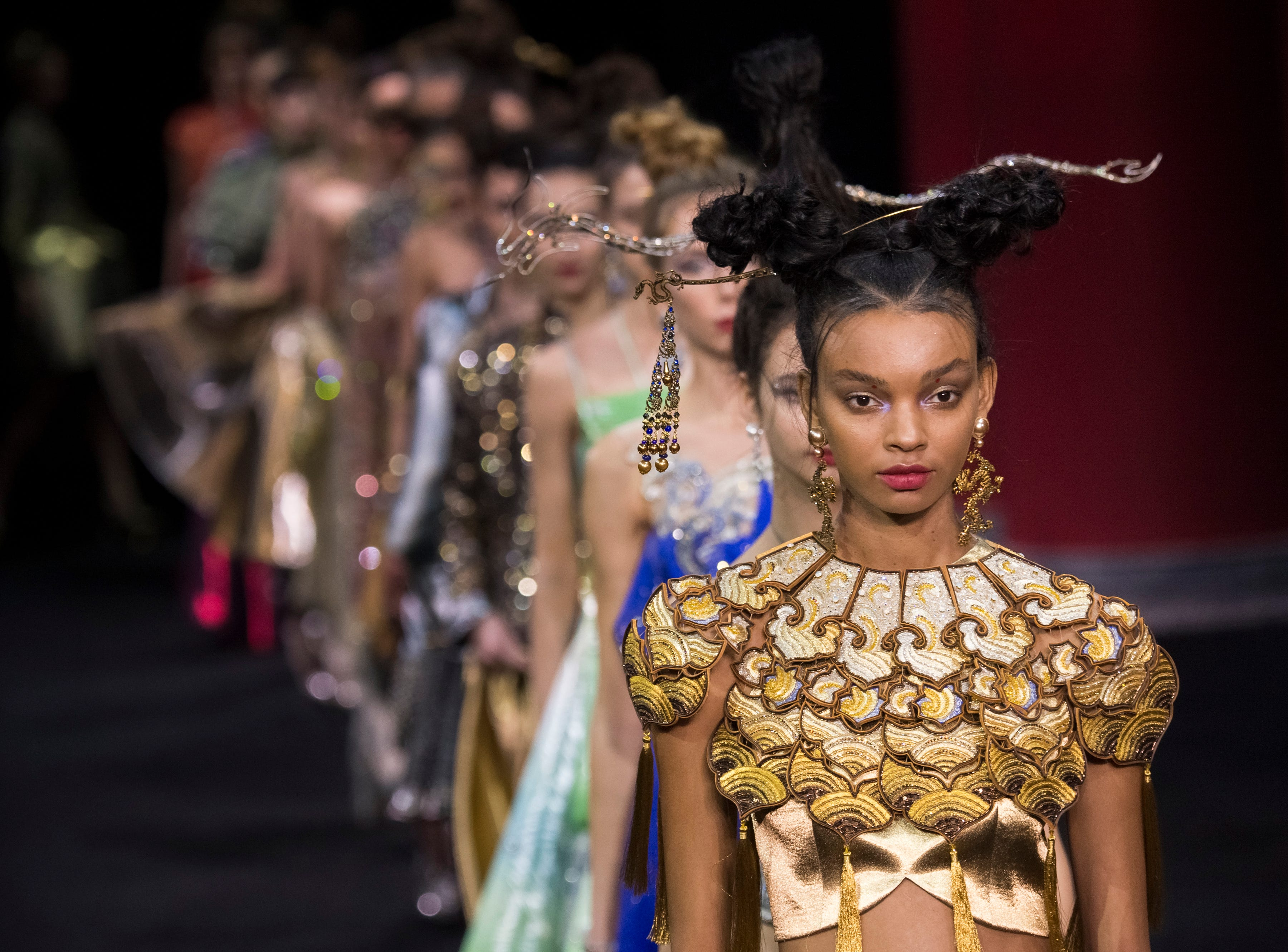 Fashion detail as models walk the runway during the Guo Pei Spring Summer 2019 show as part of Paris Fashion Week on January 23, 2019 in Paris, France.