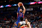 Detroit Pistons forward Blake Griffin (23) goes to the basket against New Orleans Pelicans guard Elfrid Payton (4) in the first half.