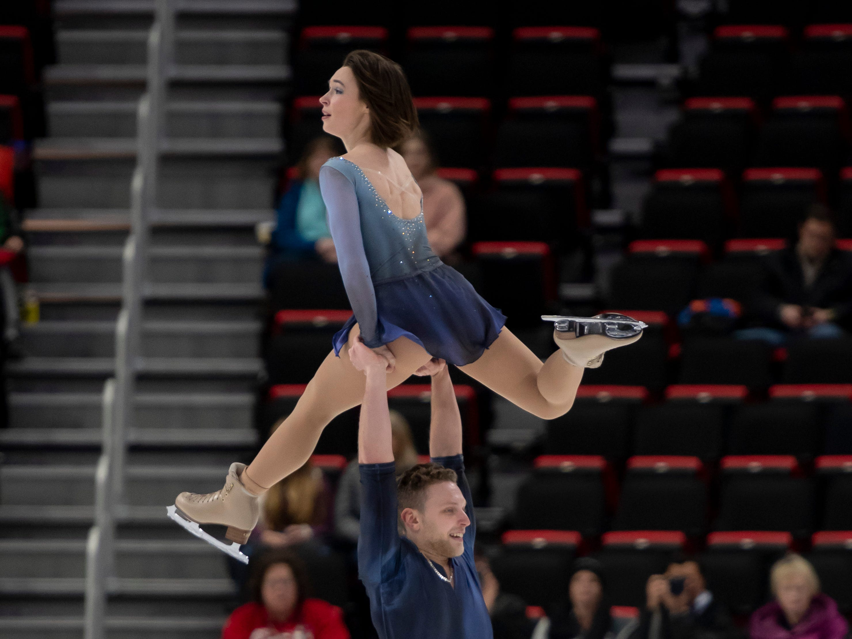 Allison Timien and Justin Highgate-Brutman compete in the senior pairs short program at the U.S. Figure Skating Championships, at Little Caesars Arena, in Detroit, January 24, 2019.  Highgate-Brutman is a Detroit native. (David Guralnick / The Detroit News)